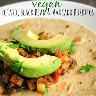Potato, Black Bean & Avocado Burritos.