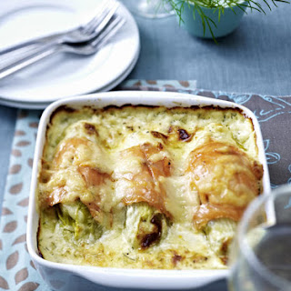 Chicory and Smoked Salmon Gratin
