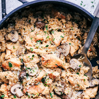 One Pot Creamy Parmesan Chicken with Mushroom Rice.