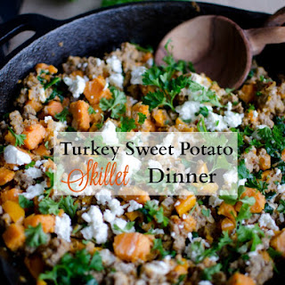 Turkey Skillet Dinner with Sweet potatoes and Kale