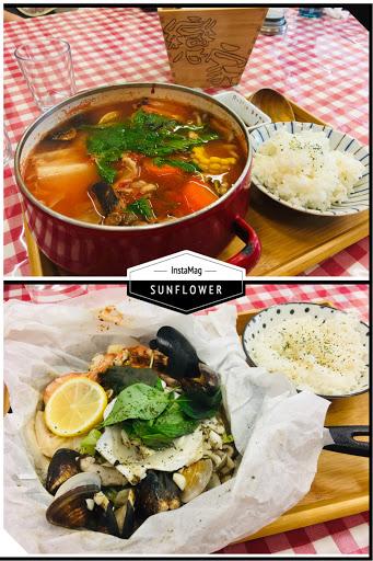 食物不錯但白飯好少,我是大胃王沒錯! #番茄海鮮豬肉鍋 #爐烤紙包海鮮飯 #推新鮮水果茶