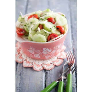 Aunt Peggy's Cucumber, Tomato and Onion Salad.