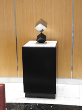 Photo: BALANCING ACT - CUBE ON TRUNCATED CUBE, One-Person Show, Philip Johnson Designed, Towers Crescent  Bldg, Tysons, VA, 5/7 to 8/13/2017
