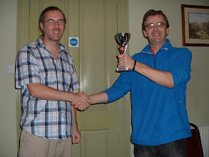 Photo: Mark Leonard presenting Gareth Williams with Trowbridge Chess Club Ladder Trophy, Trowbridge Chess Club, West Wiltshire Conservative Club, Lovemead House, 25 Roundstone Street, Trowbridge, Wiltshire31st May 2012