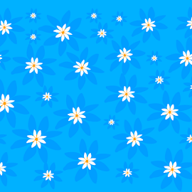 White flowers on blue background by Dipali S - Illustration Abstract & Patterns ( template, abstract, vintage, greeting, decoration, paper, illustration, art, beautiful, white, shape, postcard, beauty, spring, backdrop, decor, season, pattern, nature, background, summer, card, flower, design, floral )