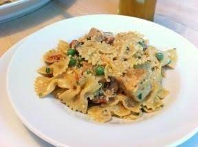 Chicken and Farfalle with roasted garlic sauce