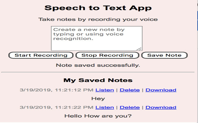 Speech to Text Note Manager