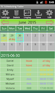 TC Scheduling Table screenshot 1
