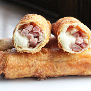 Ham, Cheese, and Pineapple Egg Rolls.