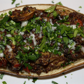 Quinoa and Veggie Stuffed Eggplant