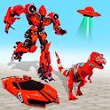 Flying Dino Robot Car Jet Game icon