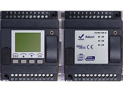 PLC med 8 DI, LCD skärm, 4 moduler, 4 DI, 4 AI, 10-30VDC