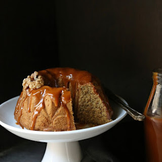 Sweet Potato Pound Cake with salted butter caramel sauce.