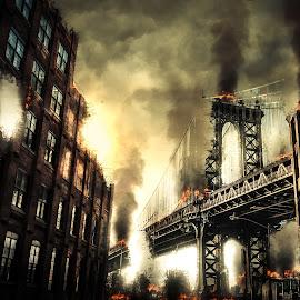 Manhattan bridge Apocalypse by Lars Keßler - Digital Art Places ( reflection, america, brick, street, architecture, nyc, historic, city, alley, sky, metal, roadwork, building, suspension, manhattan, dumbo, new york, steel, urban, landmark, narrow, window, manhattan bridge, blue, outdoor, cables, manhattan-bridge, architectural, new york city, bridge, infrastructure, neighbourhood, brooklyn )
