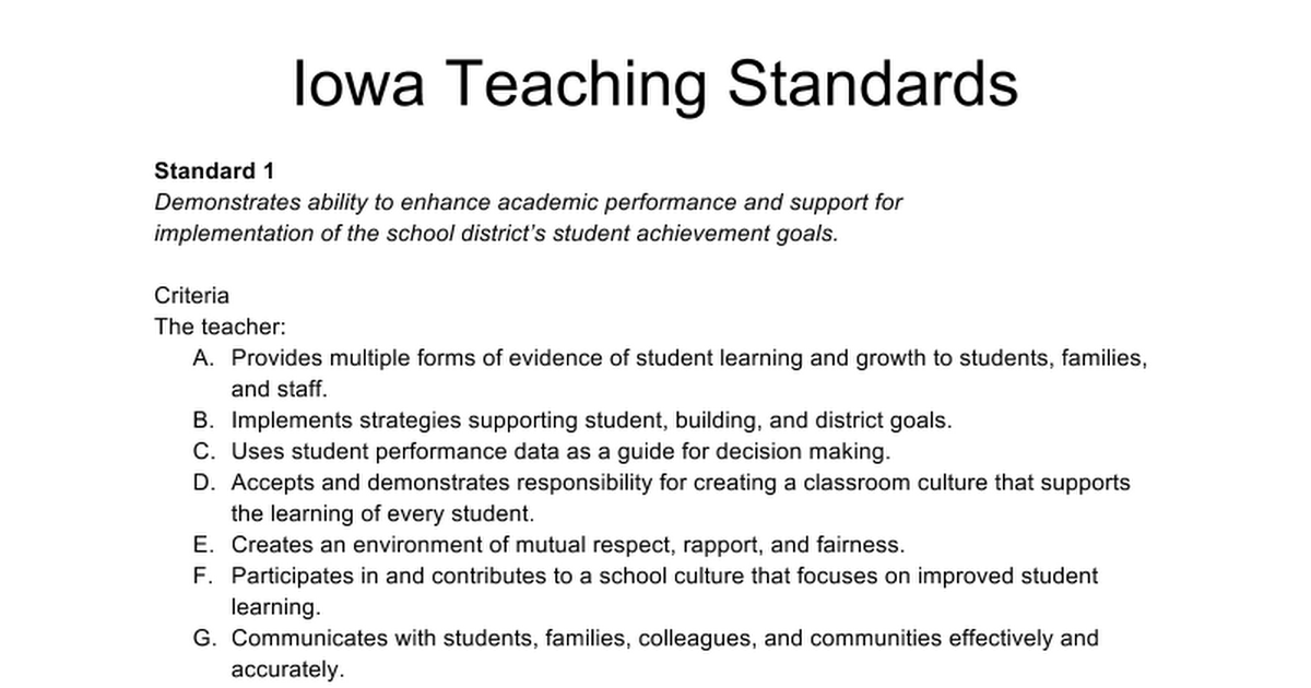 Evidence Guide For The Proficient Teacher Standards
