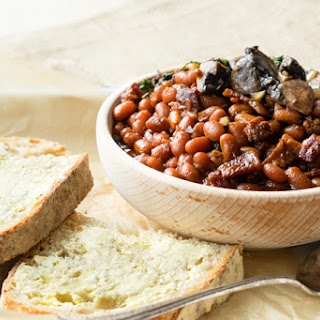 Pressure Cooker Baked Beans on Toast (GF).