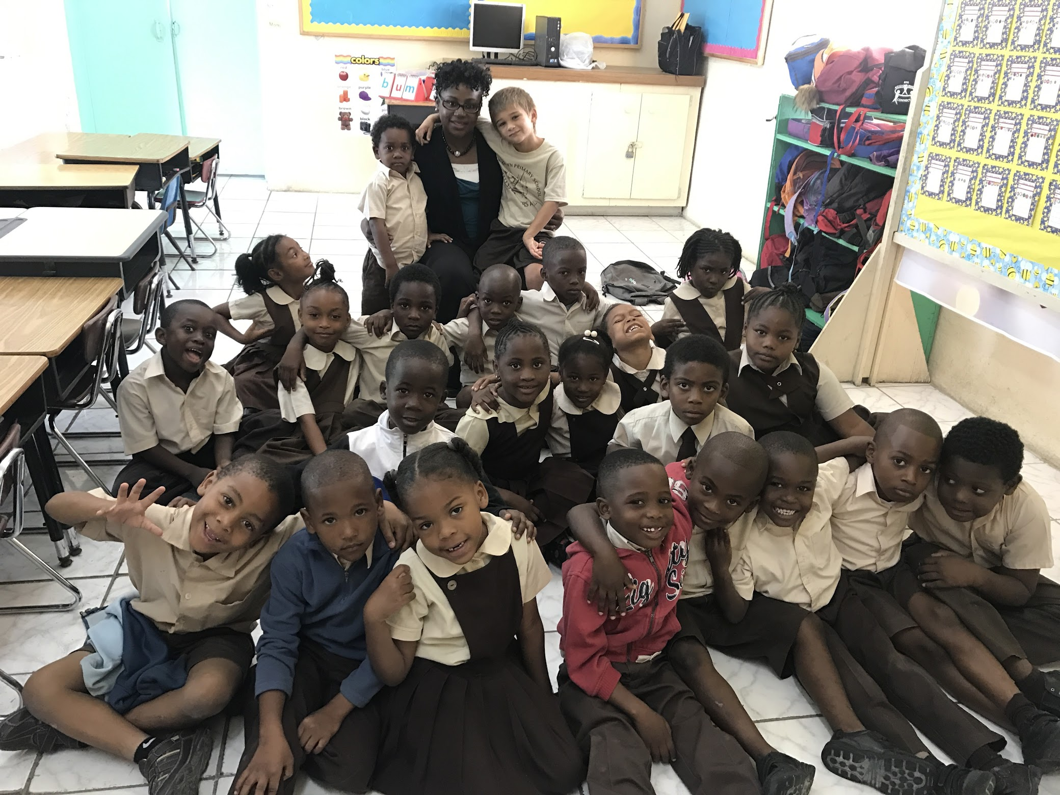 Samuel loves his Bahamian class at Georgetown Primary School, Exuma.