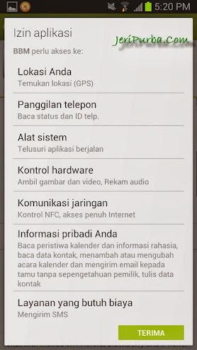 Izin Pemasangan Pada Aplikasi BBM For Android