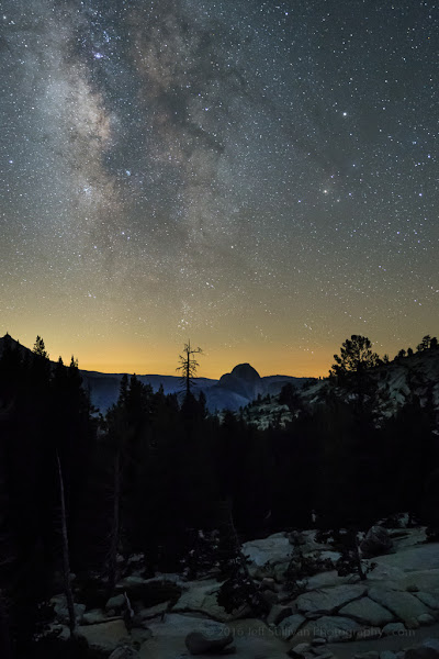 Photo: Milky Way Over Half Dome After July 4 fireworks in the Eastern Sierra, I headed up into the Sierra Nevada on Yosemite's Tioga Pass Road to capture some Milky Way shots. I waited at Olmsted Point until the Milky Way would be in the composition above Half Dome. This is a composite of two exposures, one for the foreground and one for the sky.  There was a lot of light pollution here, as well as smoke along the horizon from California's fires, but the air was clear enough for a reasonable result.  We'll be able to head up on Tioga Pass Road fr shots like this during my upcoming Eastern Sierra workshops this year: http://www.jeffsullivanphotography.com/blog/eastern-sierra-fall-colors-photo-workshops/  #yosemite  #easternsierra  #landscapephotography  #photographyworkshops  #california