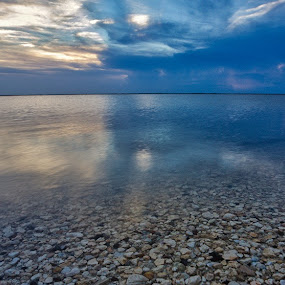 Storm rolling I n by Angie Birmingham - Landscapes Beaches ( storm, shells, beach, sunset, cloudscape, clouds and sea )