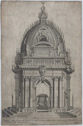 Design of the catafalque for Francesco Piccolomini; from 'Libro De Catafalchi, Tabernacoli, con varij designi di Porte fenestre et altri ornamenti di Architettura'