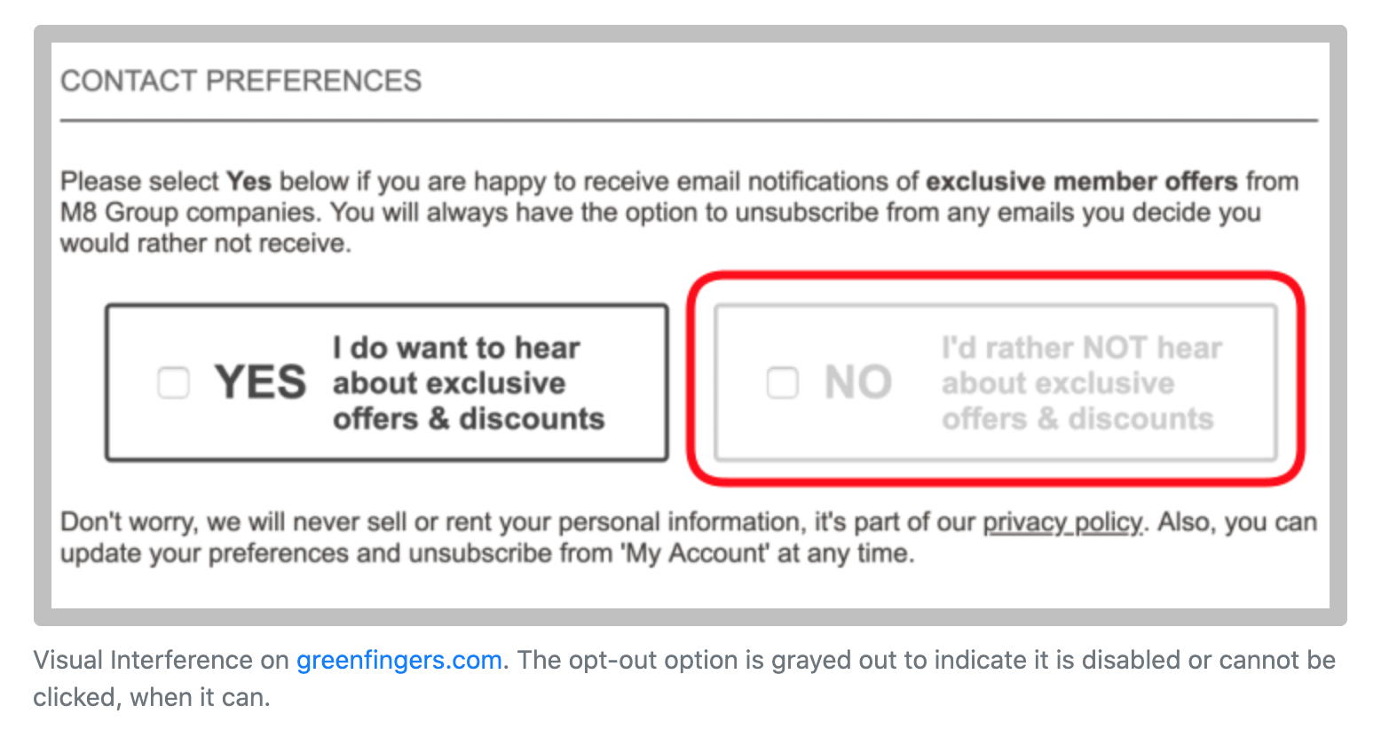 Visual Interference on greenfingers.com. The option to opt out of marketing communication is greyed, making it seem unavailable even though it can be clicked.