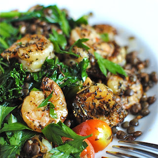 French Lentils with Kale and Shrimp.