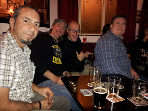 Photo: Alan, Spike, Brian and Fred enjoy a few excellent real ales at Sheffield's Fat Cat pub.