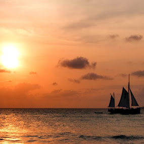 Sailing into the sunset by Svein Hurum - Transportation Boats (  )