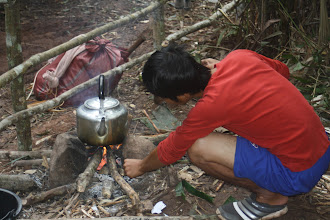 Photo: Boil water for drinking in the forest camp-2 Days Green Trail Trek-Trekking in Luang Namtha, Laos