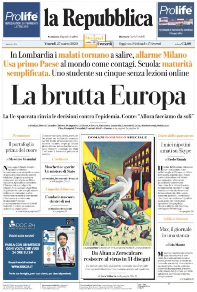 Portada de La Repubblica (Italy)