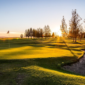 Golf cource by Edvald Geirsson - Landscapes Sunsets & Sunrises ( iceland, selsvollur, sunset, golf cource )