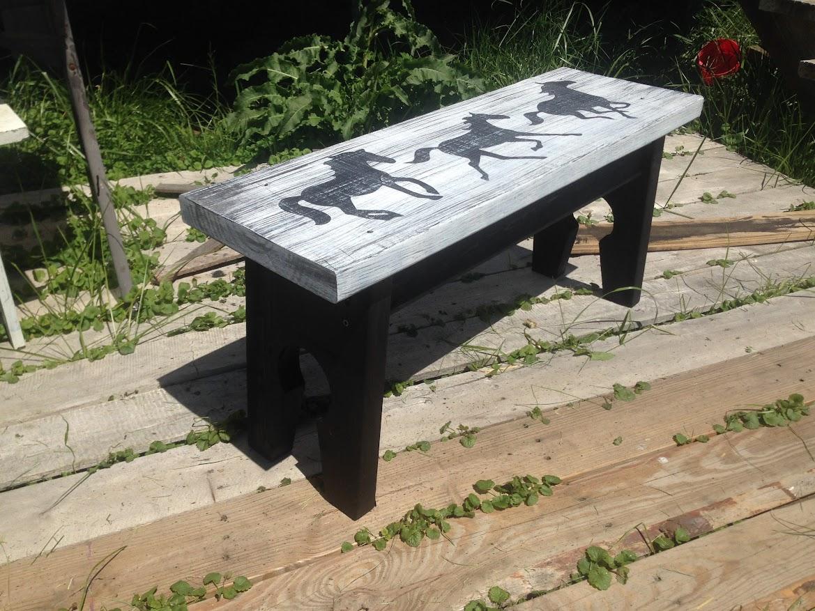 Haddad Art, folk art, horse bench
