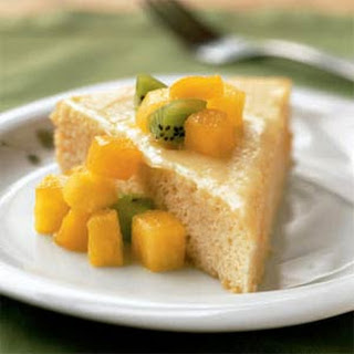 Rum-Soaked Sponge Cake with Tropical Fruit.