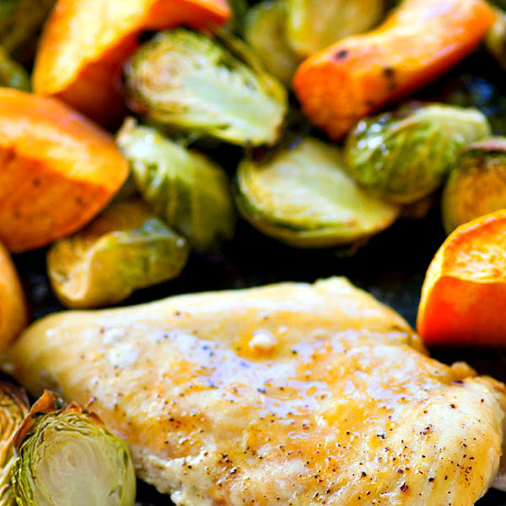 One-Pan Maple Roast Chicken with Sweet Potatoes + Brussels Sprouts