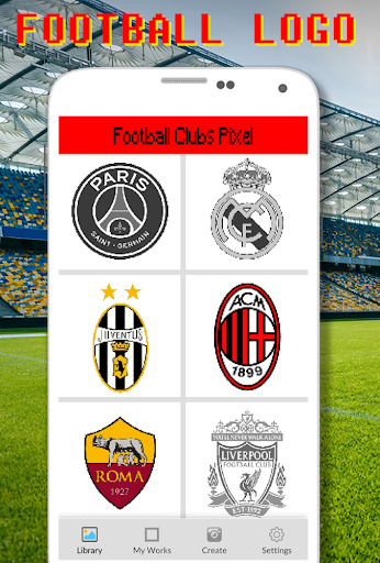 Football Logo Coloring By Number - Pixel Art screenshots 1