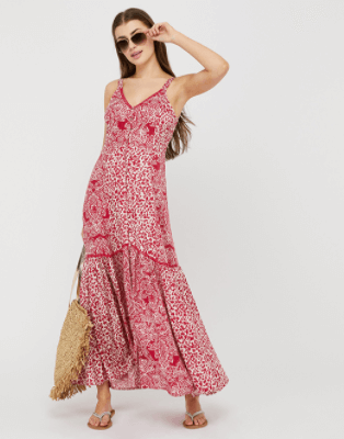 Printed red maxi dress