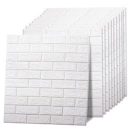 Set 10 x Placa de tapet adeziv caramizi albe, 77x70 cm
