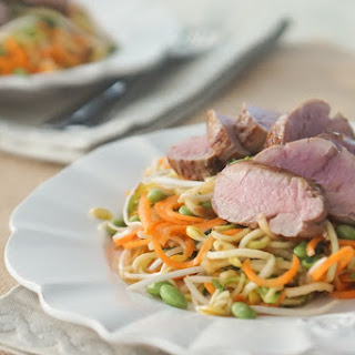 Zucchini Noodles Stir Fry with Hoisin Asian Pork Tenderloin.