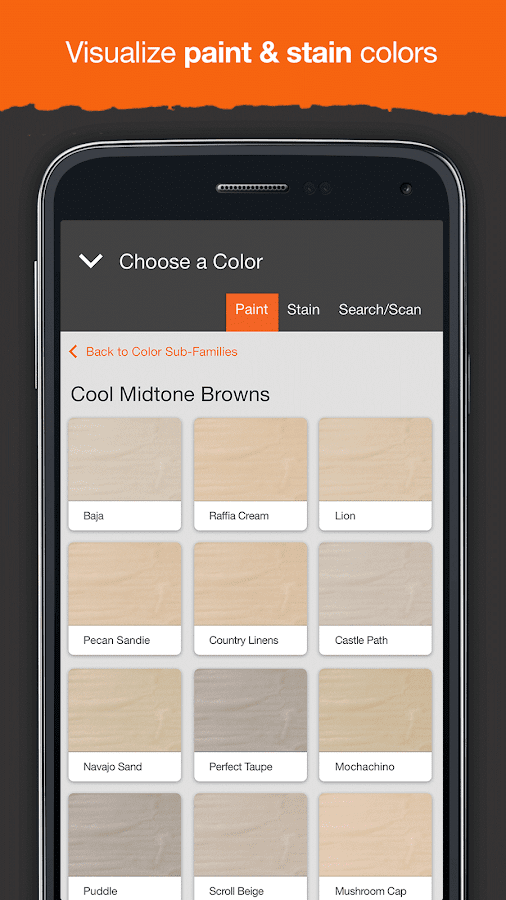 project color the home depot screenshot