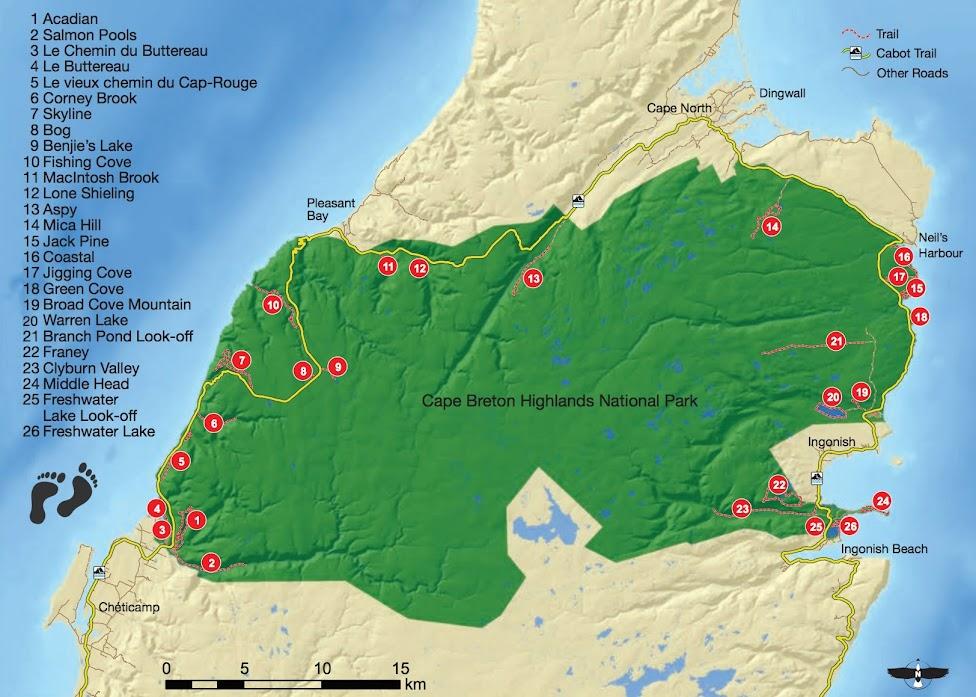 Szlaki piesze w Parku Narodowym Cape Breton Highlands