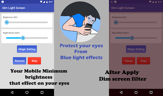 Dim Night Mode Screen - Blue Light Filter Screenshot