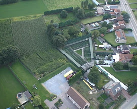 Photo: aerial photograph of same pheasantry. all aviaries are connected with one and an other. there is a corridor in front and in the back of each single aviary for easy maintenance and servicing
