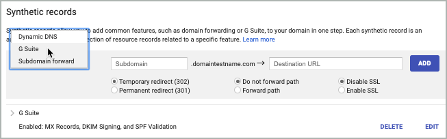 G Suite is selected from the Subdomain forward lis in the Synthetic records section of Google Domains.