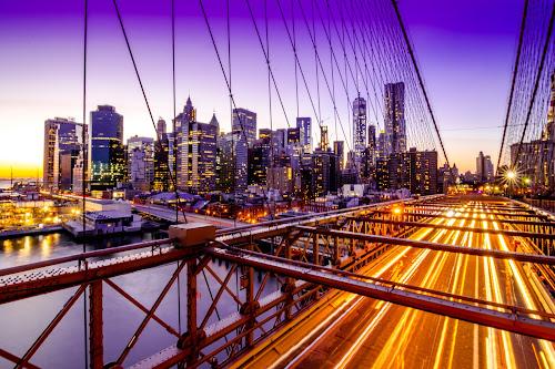 Twilight by Arnab Dutta - City,  Street & Park  Skylines ( brooklyn bridge, manhattan skyline, twilight, long exposure, manhattan, new york city, new york, long )