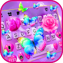 Pink Rose Butterfly Keyboard Background icon