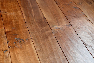 Photo: Finished laundry floor - oiled Boston birch, hand scaled with dark stain.