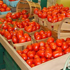 Plum Jersey Tomatoes- the best! by Susannah Lord - Food & Drink Fruits & Vegetables ( farm, orange, market, red, dark orange, jersey, yummy, delicious, nj, tomatoes, plum,  )