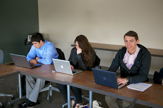 Photo: Victor, Rachel, and Jeff furiously taking notes