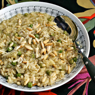 Risotto With Pesto, Peas And Pine Nuts.
